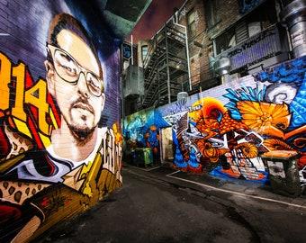 Graffiti Wall Art, Street Art Canvas, Melbourne Photography, Croft Alley, spray paint art, teen room print, Christmas gift idea, boyfriend