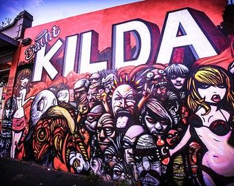 Cafe wall art, Graffiti Photography, St.Kilda street art, Melbourne Australia, red decor, Luna Park Melbourne, St. Kilda Beach, Photo gifts