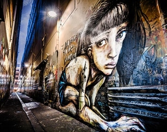 Melbourne Street Art, Graffiti Photograph, Urban Wall Art Print, Hosier Lane, Industrial decor, Grunge Room decor, photography gift
