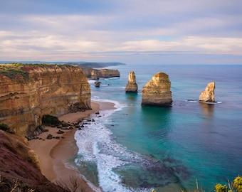 Great Ocean Road Print, Twelve Apostles, Melbourne Victoria, Beach Photography, Travel Poster, Large Coastal Wall Art, Blue Herring Design