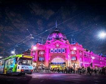 Flinders Street Station, Melbourne Photo, Australia Print, Oversized Wall Art, Night Sky, Tram Art, popular right now, Blue Herring Design