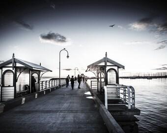 St Kilda Pier, Black and White, Photography Prints, Luna Park, Melbourne Australia, Beach Decor, Sunset wall Art, Fathers Day Travel Gift