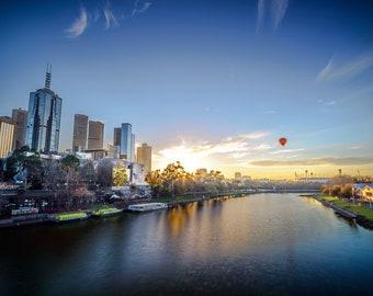 Melbourne Photograph, Sunrise wall art, Photography Prints, Melbourne Australia, Travel Poster, Hot Air balloon print, Wedding Gift for him