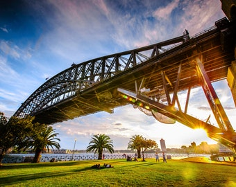 Sydney Harbour Bridge, Australia Photograph, Sydney Print, Travel Wedding Gift, Sydney Opera House, sunset wall art, bridge canvas art