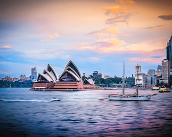 Sydney Opera House, Sydney Harbour Print, Australia Photo, Travel photography, Wedding Gifts, city skyline, sunset wall art, sail boat decor