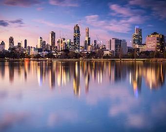 Melbourne skyline, Grand Prix, Australian Poster, Albert Park Lake, Formula 1, sunset Print, oversized wall art, office decor, gift for him