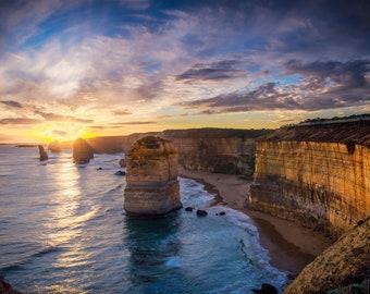 Twelve Apostles, Great Ocean Road Print, Beach Trip Gifts, Melbourne Victoria, Coastal Wall Decor, Australia Photo, sunset ocean wall art