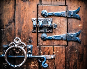 Old Wooden Door, Rīga Latvia, Vikings wall art, dungeons and dragons gifts, weathered photography, medieval tavern, door hinges rustic