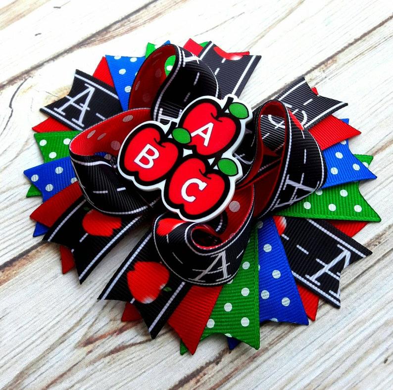 Back to School Hair Bow ABC Hair Bow Preschool Hair Bow School Hair Bow Go back to School Stacked Boutique Hair Bow Colorful Preschool Bows