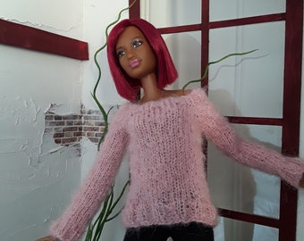 Hand knitted pink long sleeve sweater for Barbie/Poppy Parker