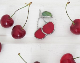 Cherry brooch, stained glass cherry, pendant, glass jewelry, berries