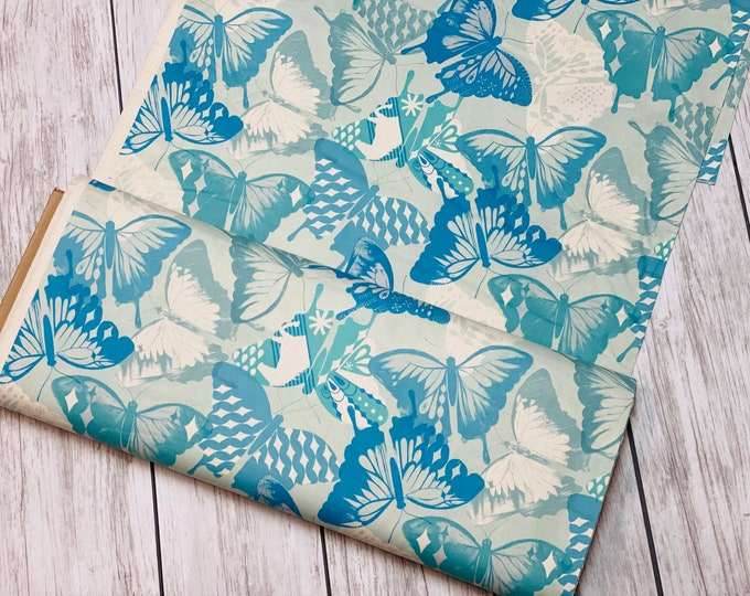 Featured listing image: M0058-001 Flutter - Flutter - Aqua Unbleached Cotton Fabric- Cotton and Steel- RJR-  Sold by the half-yard cut continuous