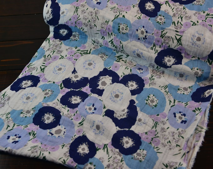 Featured listing image: Fresh Cut Embrace Double Gauze Floral in lilac and blue from Shannon Fabric-Sold by the yard cut continuous