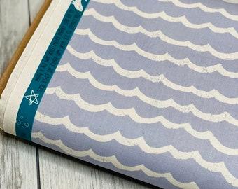 Bavoir in TENUGUI 100/% Japanese cotton pattern KUJIRA whale and waves ocean blue