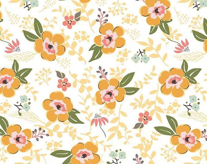 Featured listing image: Flannel 'Sweet Prairie' Main Floral on White by Riley Blake, sold by the 1/2 yard – cut continuously