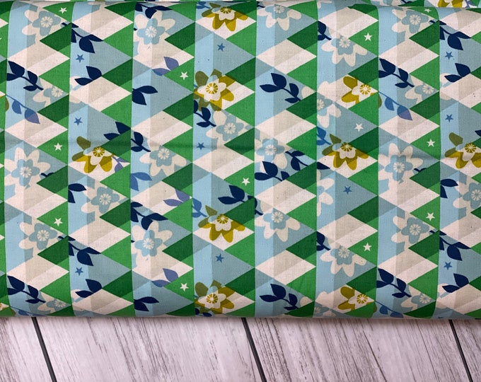 Featured listing image: M0059-001 Flutter - Kaleidoscope - Green Unbleached Cotton Fabric- Cotton and Steel- RJR-  Sold by the half-yard cut continuous