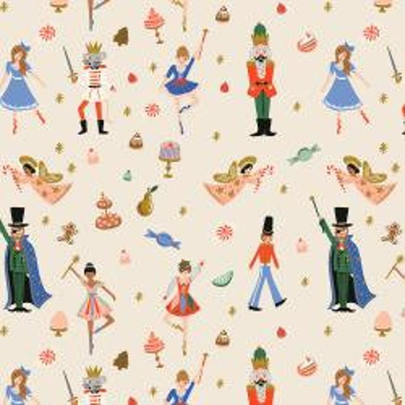 Holiday Classics,  Land of Sweets, Cream Metallic Fabric, RP606-CR1M, Rifle Paper Co, Cotton and Steel, sold by the 1/2 yard or the yard