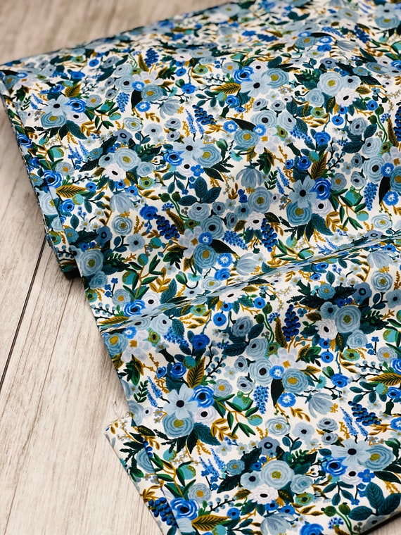 Garden Party - Petite Garden Party - Blue Fabric- RP104-BL5- Cotton -Rifle Paper Co-Cotton and Steel/RJR- Sold by the 1/2 yard or the yard