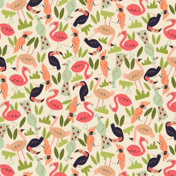 RJ1302-SA2 Adventure - Flock - Sand Fabric- By RJR/Cotton and Steel, sold by the 1/2 yard
