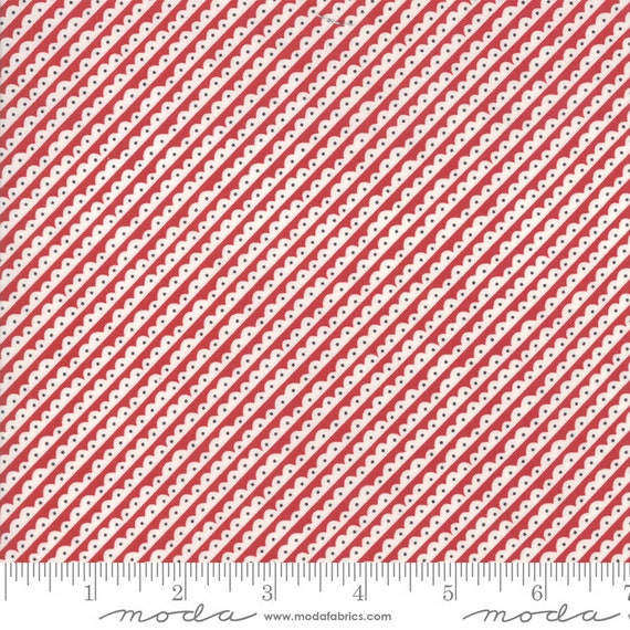 The Christmas Card Red Scallops, By Sweetwater, 5775 21 Moda, Sold by the half yard, cut continuous