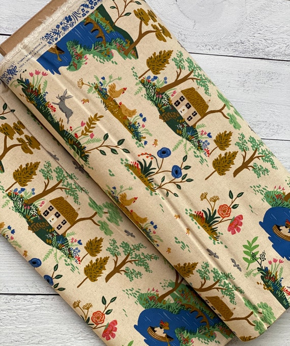 AB8056-032 English Garden - Garden Toile - Cream CANVAS Fabric, sold by the 1/2 yard or the yard