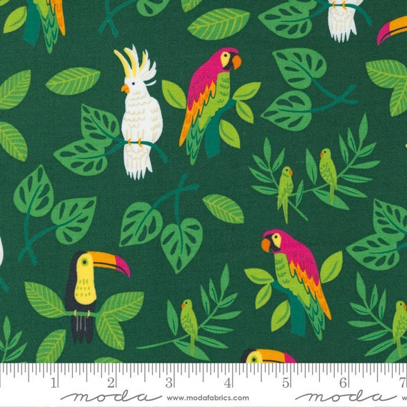 Jungle Paradise Palm, 20782 22 Moda, Birds In Paradise, By Stacy Iest Hsu, sold by the 1/2 yard or the yard