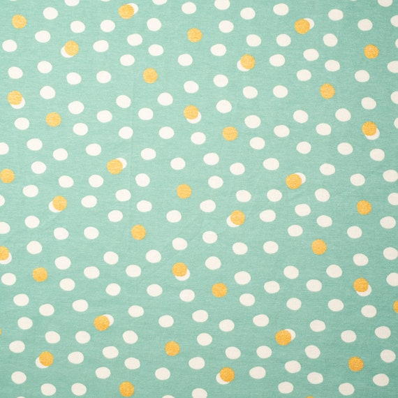 "Mochi Dots with Metallic on Mineral, Organic Interlock KNIT, Tonoshi, Birch Fabrics, width of 58""-Sold by the half-yard cut continuous"