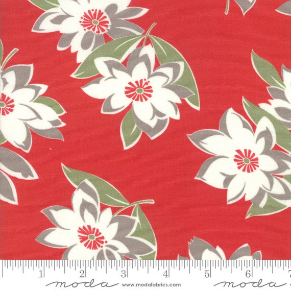 "At Home- Red Main Floral Canvas- Bonnie & Camille- Lite CANVAS - 58"" WIDE - Moda Fabrics - Thimbleblossoms sold by the 1/2 yard or the yard"