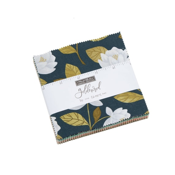Goldenrod Fabric, Precuts, Charm Pack by One Canoe Two for Moda Fabrics, 42-5 inch squares