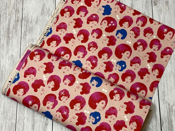 Fruit Dots - Dottie's Friend - Pink CANVAS Fabric-M0032-022- Retro fun-Cotton and Steel/RJR- sold by the 1/2 yard or the yard