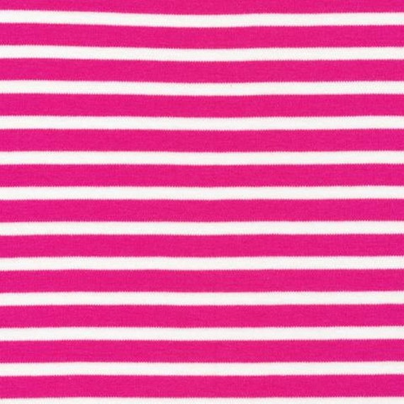 Cloud9 Knits - Organic KNIT Fabric - Colorful Stripes Pink