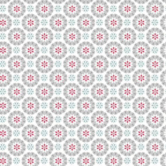 Hygge Christmas Icy Blue Heart Snowflakes, sold by the 1/2 Yard - Cut Continuously