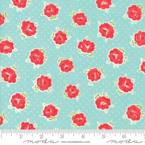 Smitten Lovely Aqua 55177 12 Moda, sold by the 1/2 Yard - Cut Continuously