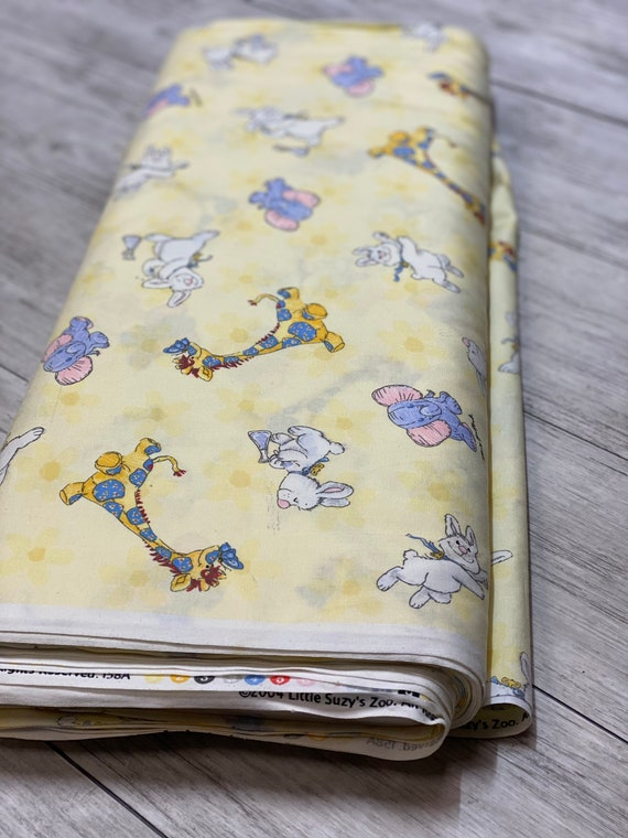 RARE- Little Suzy Zoo, Witzy Fabric, Yellow Flowered fabric, Character Toss, sold by the 1/2 yard or the yard