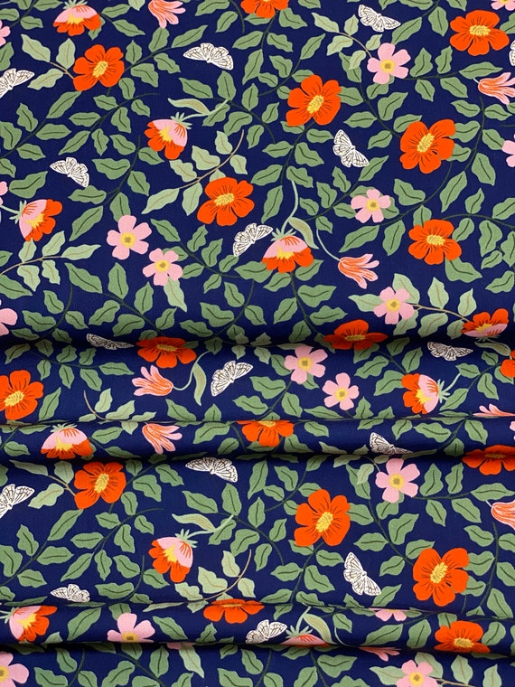 Strawberry Fields - Primrose - Navy RAYON Fabric-RP402-NA3R- Rifle Paper Co- Cotton and Steel/RJR- Sold by the 1/2 yard or the yard