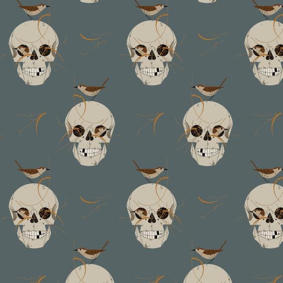 Skull Fabric with Birds, Wrented, Charley Harper, Halloween Fabric, Birch Fabrics, Organic Poplin Fabric, 100% GOTS Organic Cotton Fabric