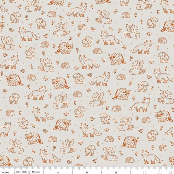 Camp Woodland, Life, offwhite, C10461-Offwhite, Natàlia Juan Abelló, Riley Blake Designs, Sold by the 1/2 yard or the yard