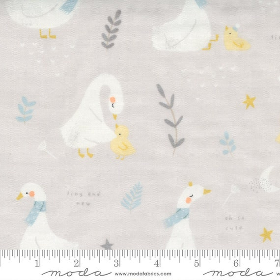 """60"""" Little Ducklings Gauze Grey, 25100 14DG Moda, By Paper And Cloth, Sold by the 1/2 yard or the yard"""