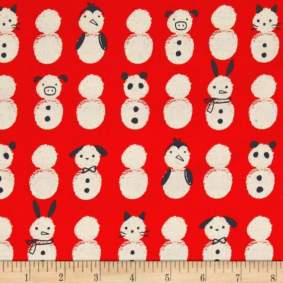 Noel Snow Babies - Red Unbleached Cotton Fabric- Cotton and Steel- RJR- Sold by the half-yard cut continuous