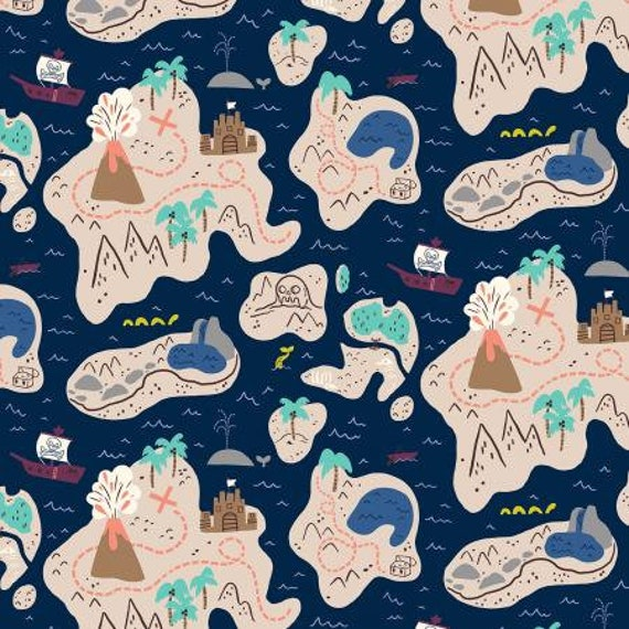 JG101-DS1 Kraken - X Marks the Spot - Deep Sea Fabric- Cotton and Steel- RJR- Sold by the 1/2 yard or the yard