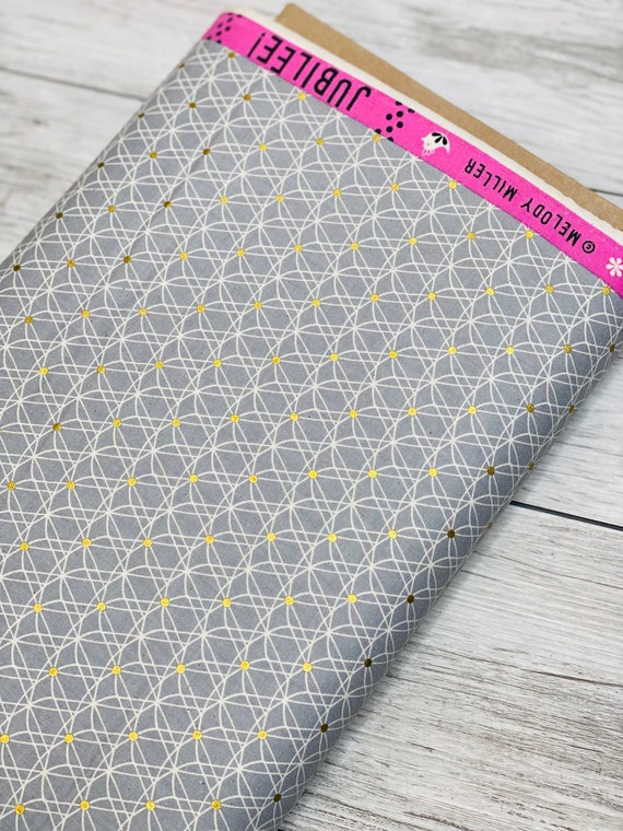 M0050-001 Jubilee, Crinoline - Grey Unbleached Cotton Metallic Fabric- Melody Miller- Cotton and Steel/RJR- Sold by the 1/2 yard or the yard