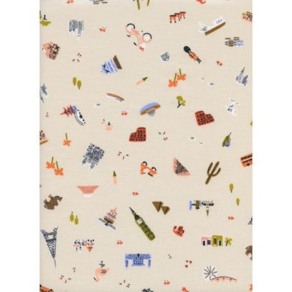 Amalfi - Explorer - Natural Unbleached Cotton Fabric-AB8043-001- Rifle Paper Co- Cotton and Steel- RJR- Sold by the 1/2 yard or the yard