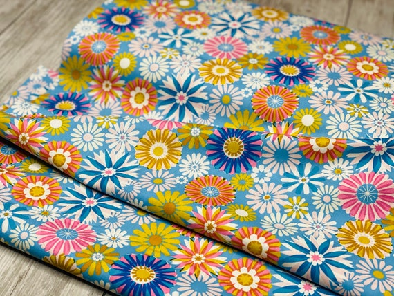Freshly Picked - Garden - Blue Unbleached Cotton Fabric- M0061-002- Melody Miller- Cotton and Steel- Sold by the 1/2 yard or the yard
