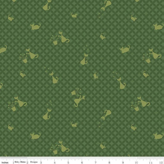 Mod Meow Cat Toss Green, C10281-GREEN, By Amanda Niederhauser for Riley Blake, Sold by the 1/2 yard or the yard