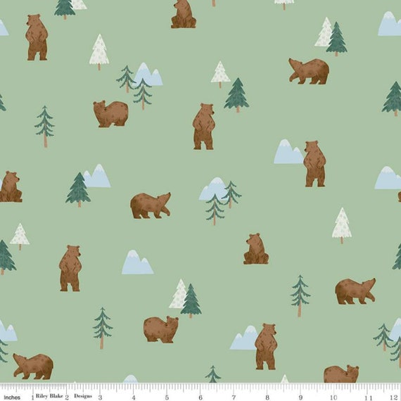 Camp Woodland Grizzly Bears Pistachio , C10461-PISTACHIO, Natàlia Juan Abelló, Riley Blake Designs, Sold by the 1/2 yard or the yard