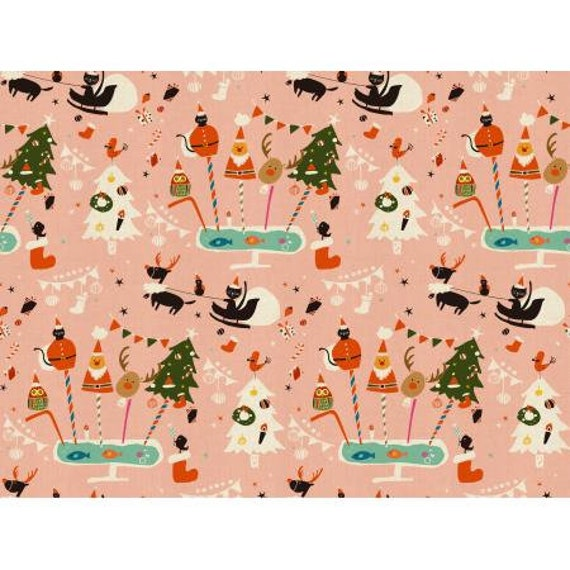 NM200-PI1U Waku Waku Christmas - Holiday Party - Pink Unbleached Fabric- Cotton and Steel/RJR- sold by the 1/2 yard or the yard
