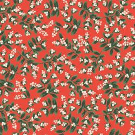 Holiday Classics,  Mistletoe, Red Metallic Fabric, RP601-RE2M , By Rifle Paper Co, for Cotton and Steel, sold by the 1/2 yard or the yard