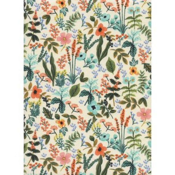 AB8044-001 Amalfi - Herb Garden - Natural Unbleached Cotton Fabric- Rifle Paper Co- Cotton and Steel/RJR- Sold by the 1/2 yard or the yard