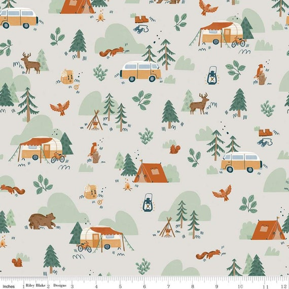 Camp Woodland Main Off-White, C10460-Off- White, Natàlia Juan Abelló, Riley Blake Designs, Sold by the 1/2 yard or the yard