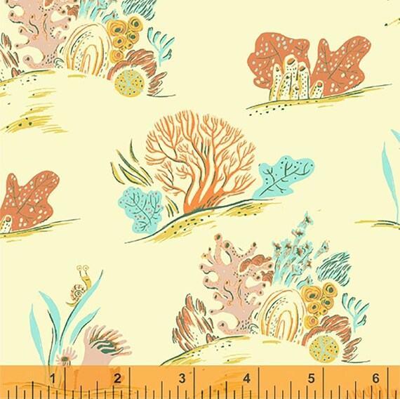 Malibu, Multi Coral, 52147-9, By Heather Ross For Windham Fabrics, Sold by the 1/2 yard or the Yard and Cut Continuous from bolt